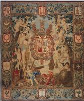 Antique Flemish Heraldic Tapestry of a Spanish Noble Admiral 2399 Color Details - By Nazmiyal