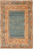 antique angora turkish oushak rug 47132 color Antique Ivory Background Oushak Carpet From Turkey 47443