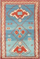 Antique Light-blue Tribal Turkish Avar Rug 47488 Color Detail - By Nazmiyal