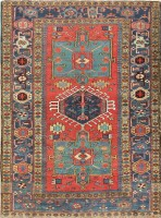 antique persian heriz scatter rug 47520 color Antique Persian Heriz Serapi Carpet 47457