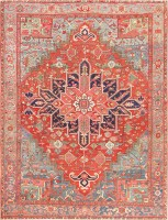 antique persian heriz serapi carpet 47293 color Antique Persian Heriz Serapi Carpet 47457