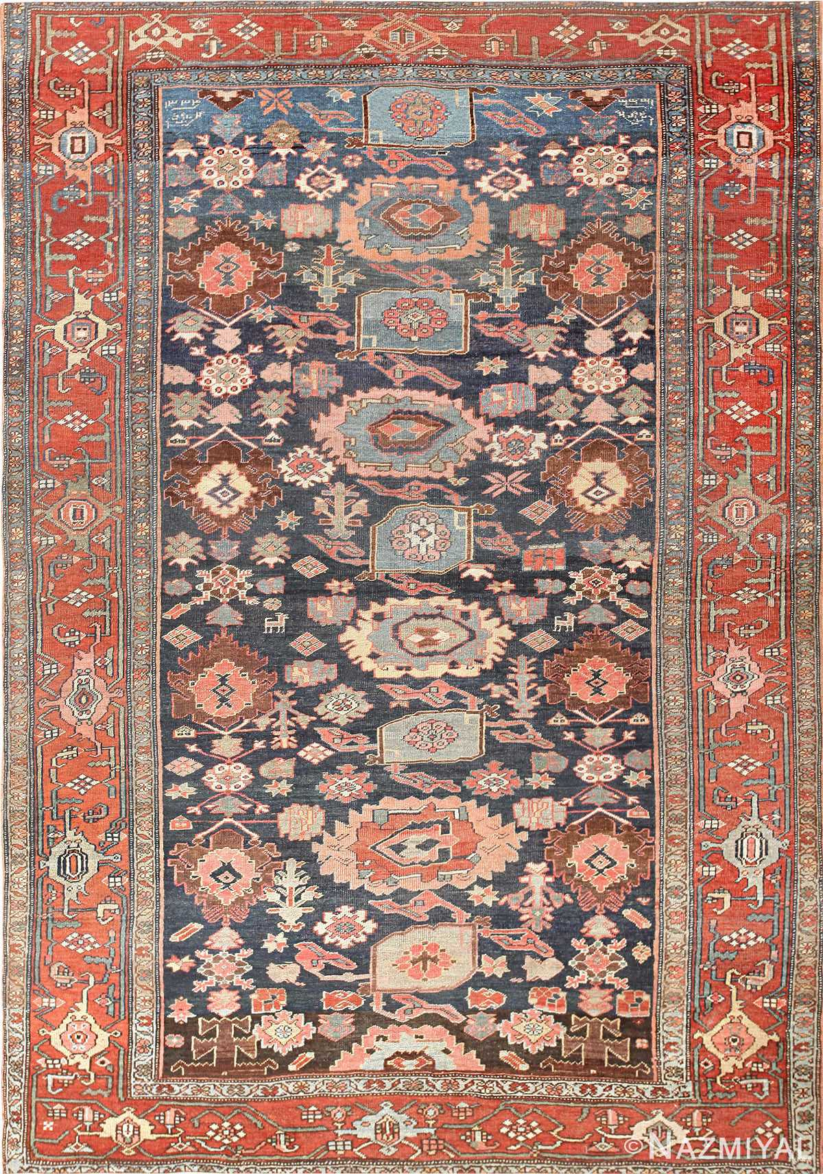 Blue Background All Over Design Persian Bidjar Rug