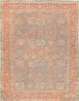Antique Grey Blue Background Persian Sultanabad Rug 47563 - By Nazmiyal