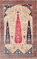 Antique Persian Silk Prayer Kerman Rug 47611 Color Detail - By Nazmiyal