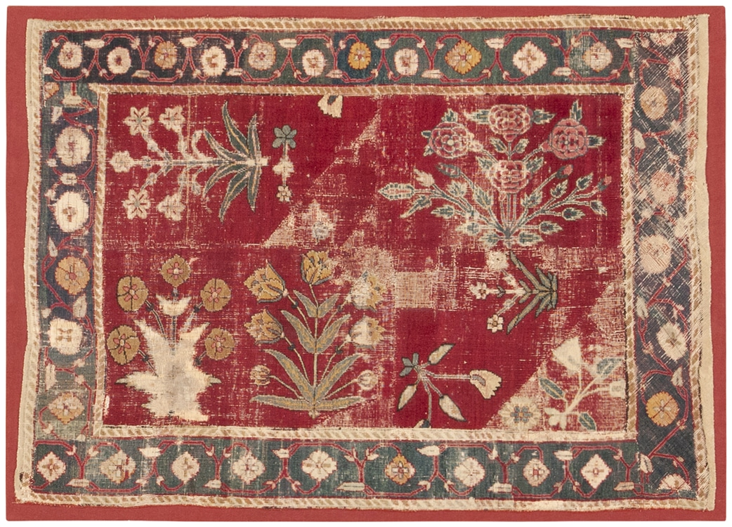 Antique 17th Century Mughal Rug, Nazmiyal Collection