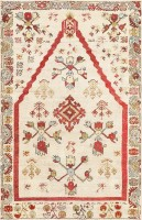 Small Antique Ivory Turkish Kirshehir Rug 47476 Color Detail - By Nazmiyal