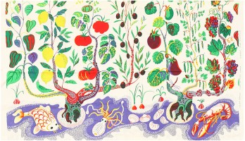 Vintage Cotton Italian Dinner Textile by Josef Frank 48206 Color Detail - By Nazmiyal