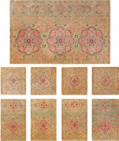 Set of Nine Antique Kashan Persian Rugs 43916 Color Detail - By Nazmiyal