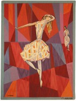 "Vintage Scandinavian ""The Dance"" Tapestry by Lars Gynning for P.F Aubusson Color Detail - By Nazmiyal"
