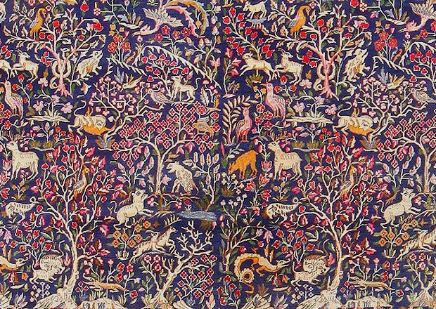 Detail of Field, Antique Garden of Paradise Persian Carpet 48340
